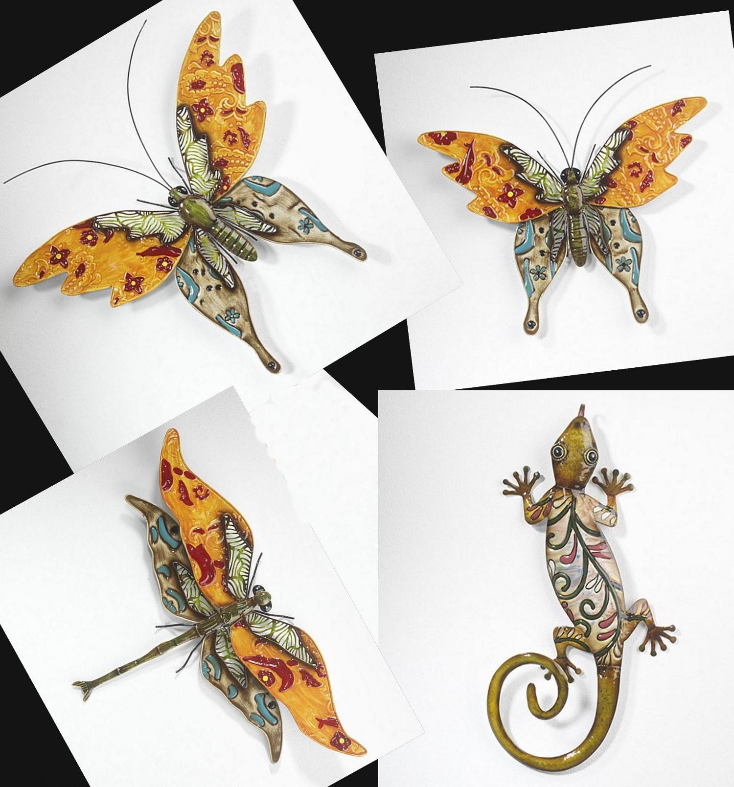 blech bild schmetterling gecko libelle eidechse wand deko wandschmuck metall ebay. Black Bedroom Furniture Sets. Home Design Ideas