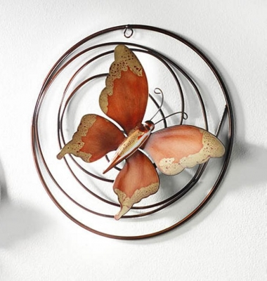 Wall-Decoration butterfly red metal 30 cm