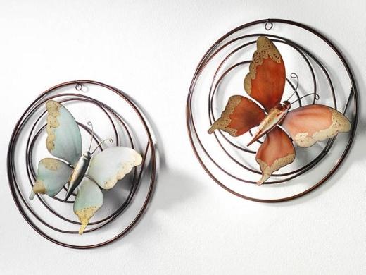 Wandbild 2 -fach Schmetterling Metall 30cm