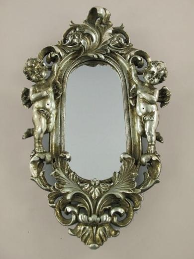 Wandspiegel Engel Dekospiegel Barock - Spiegel Rahmen Antik Silber Barockrahmen