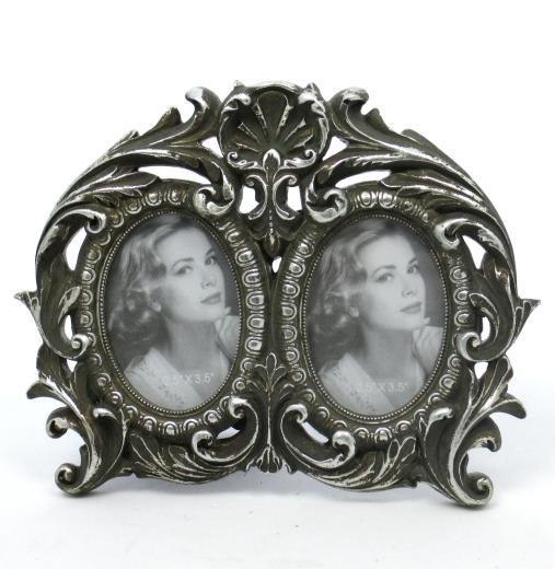 2  Fach Bilderrahmen Barock Rahmen Fotorahmen Antik  Silber