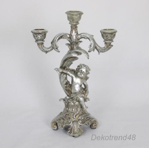 Kerzenleuchter Kerzenständer Antik Barock Engel Leuchter Silber 3 - Armig Deko