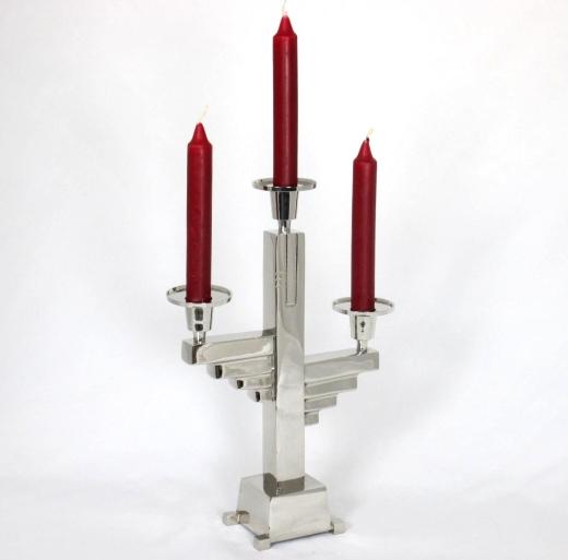 Kerzenleuchter Bauhaus - Stil 3 Armig Chrom Kerzenständer Antik Silber
