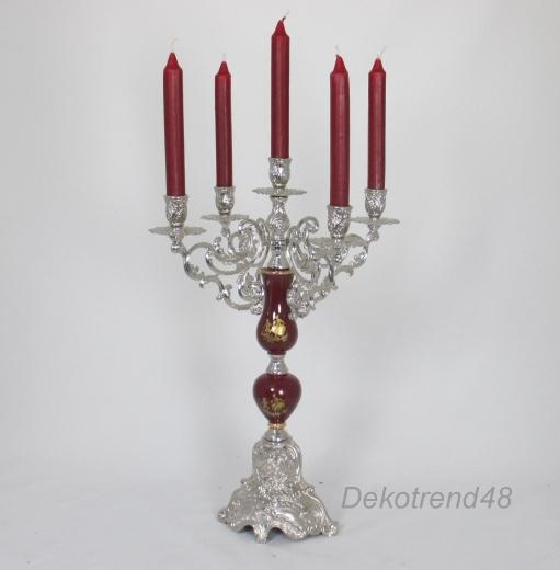 Kerzenleuchter 5 - Armig Leuchter Kerzenständer Bordeaux - Rot Silber Antik Barock