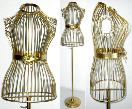 Schneiderpuppe Gold Schaufensterpuppe Büste Metall Kleiderständer Gürtel Ketten