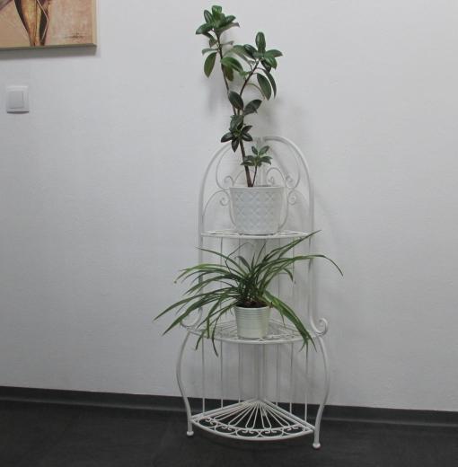 Eckregal Weiss Shabby Look Landhaus - Stil Regal Blumenregal Pflanztreppe