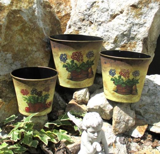 Blumen Übertopf Übertöpfe im 3er - Set Metall Begonien Landhausstil Mediterran