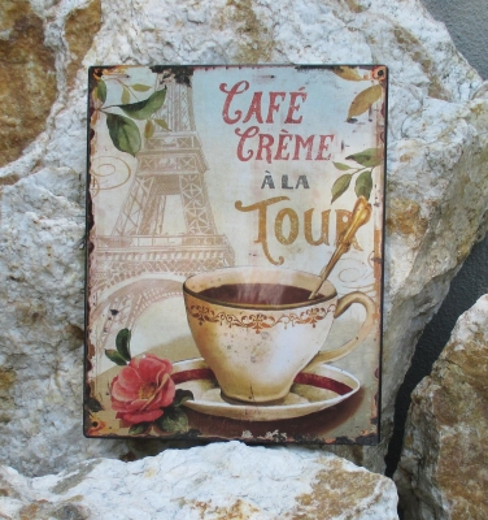 Blechschild Metallschild Wandbild Schild Eifelturm Cafe Crema a la Tour Paris