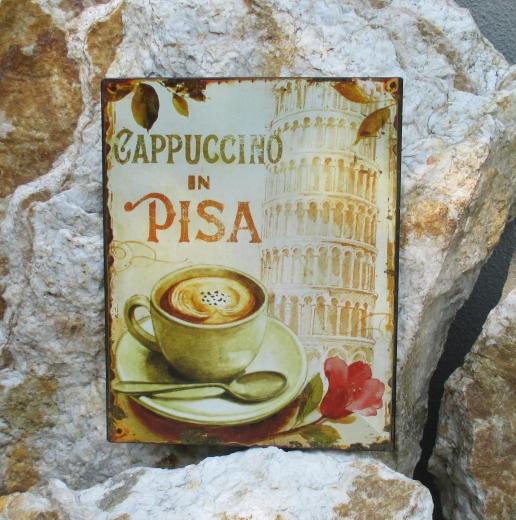 Blechschild Wandschild Cappuccino Pisa Kaffeestube Küche Wandbild schiefer Turm