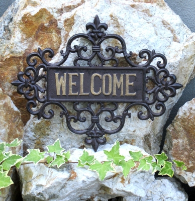 Welcome door - plate - wall reliefs Landhaus cast iron welcome sign wall door