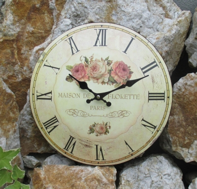 Metal wall clock Rose motif antique look Cottage Shabby clock Rose Bouquet Nostalgia