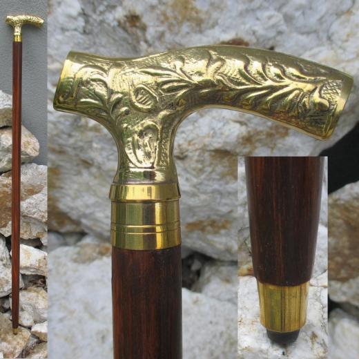 Spazierstock Gehstock Wanderstock mit Messing Griff 91 cm