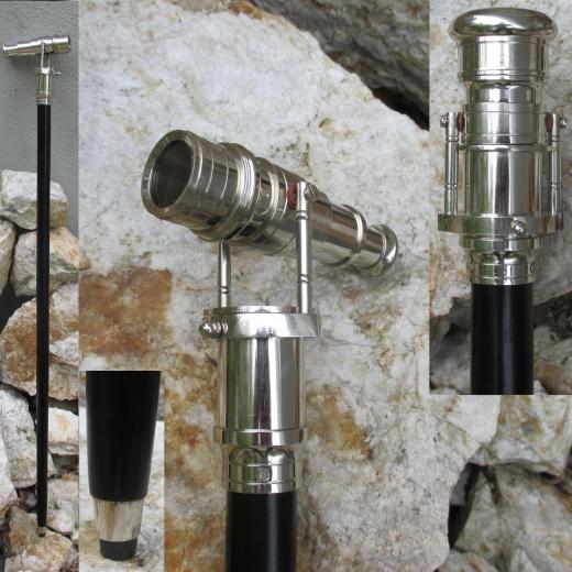 Flanierstock Gehstock Spazierstock mit Teleskop Silber