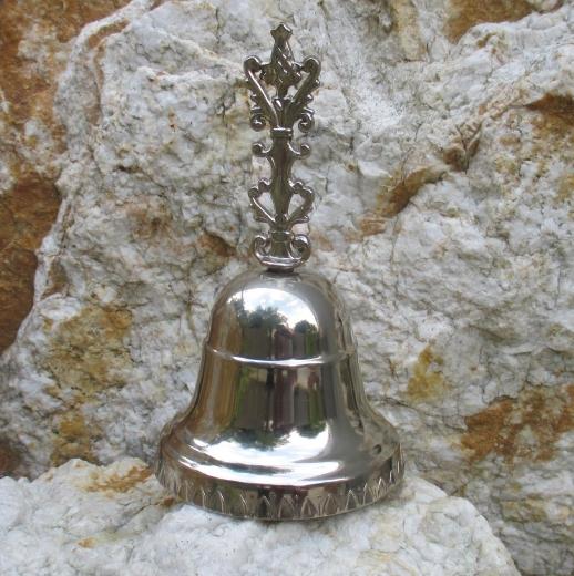Glocke Handglocke Weinachtsglocke Schul - Hotel - Glocke Metall Silberoptik