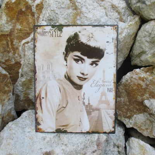 Blechschild Audrey Hepurn Bild Film Hollywood Wanddeko Wand Nostalgie Antik