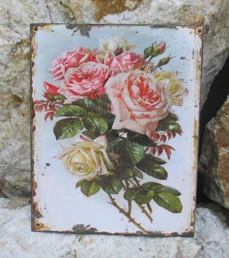 Blechbild Blechschild Wandschild Metall Rose Wildrose Küche Wandbild