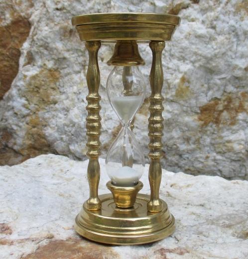 Eieruhr 5 min. Säulen Sanduhr Uhr Messing Glasenuhr Kurzzeitmesser Timer
