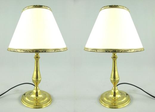 2 edle Tischleuchten Tischlampen Messing 35cm D-20 cm Antik Nachttisch Lampe