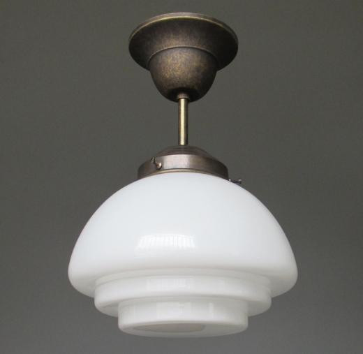 Hängelampe Deckenlampe Art Deco Jugendstil Bauhaus Opalglas Messing Antik Lampe