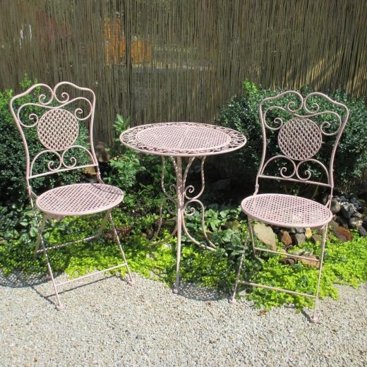 Gartenmöbel Sitzgruppe Eisen 1 Tisch 2 Stühle Balkon Bistro-Set Rosa