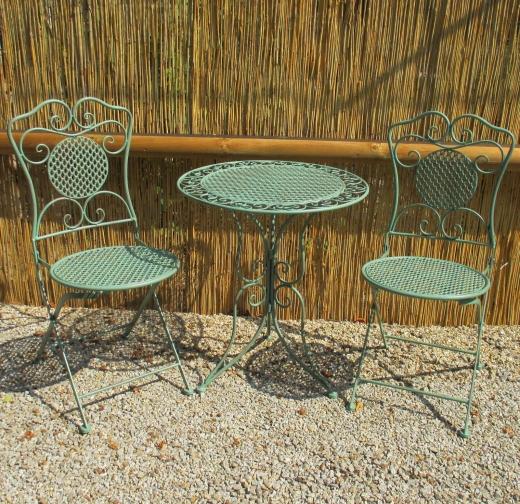 Gartenmöbel Sitzgruppe Metall Eisen 1 Tisch 2 Stühle Balkon Bistro-Set