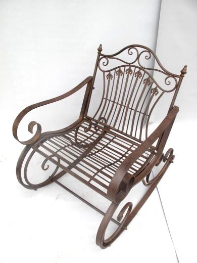 Gartenstuhl Armlehnstuhl Schaukelstuhl Eisen Antik Braun Toskana Mediterran Nostalgie