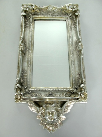 Wandspiegel mit Ablage Spiegel Barock - Spiegel Konsole Engel Antik Silber