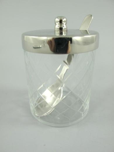 Marmeladen Menage Set Edel Konfitüre 1 Glas mit Tablett und 1 Löffel