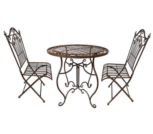 Gartenmöbel 1 Tisch 2 Stühle Eisen Braun Bistro-Set Antik Stil