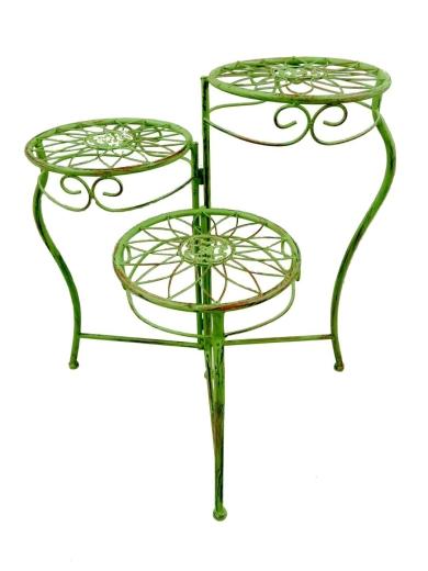 Blumenhocker Etagere 3 Stufen Tisch Grün Eisen Blumenetagere