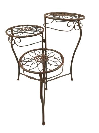 Blumenhocker Etagere 3 Stufen Tisch Braun Eisen Blumenetagere
