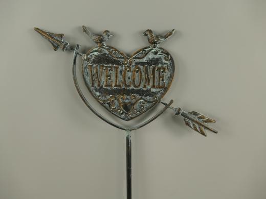 Gartenstecker Welcome Herz mit Pfeil Schwarz Grau 130 cm