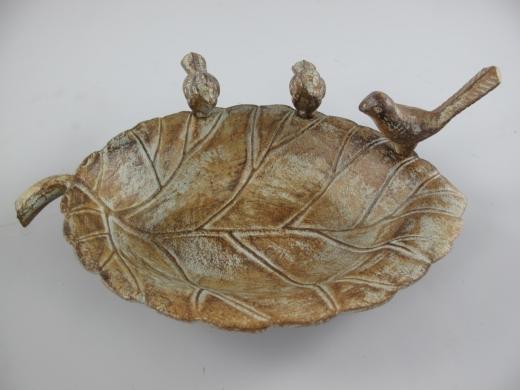 Vogeltränke Gusseisen mit 3 Vögel Wassertränke Wasserschale Blattschale
