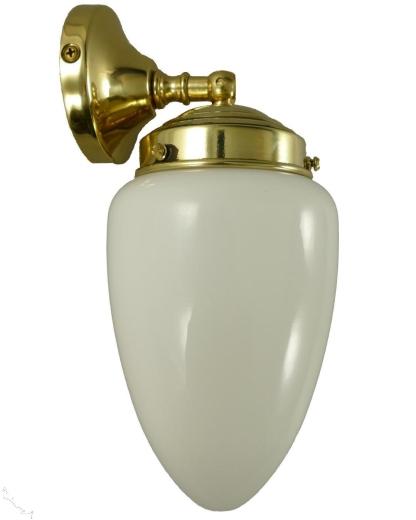 Wandlampe Deckenlampe Messing mit Tropfen Opalglas Lampenschirm Weiss