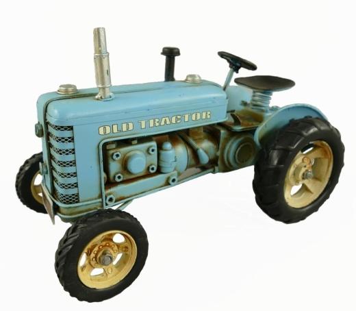 Blechmodell Old Traktor Antik Stil Blau Oldtimer 26 cm Bulldog
