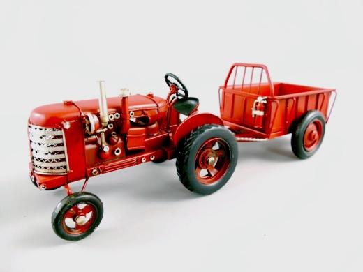 Blechmodell Old Traktor Antik Stil Rot mit Hänger Oldtimer 32 cm Bulldog