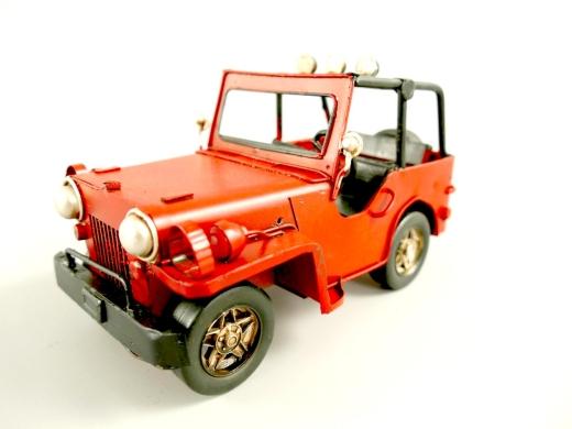 Blechauto Jeep Oldtimer Antik Stil Rot 17 cm Modellauto Nostalgie
