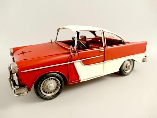 Blechauto Cadillac Oldtimer Antik Stil Rot/Weiss 33 cm Modellauto Nostalgie