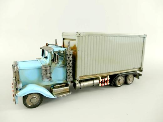Blechauto LKW Container Truck Oldtimer Antik Stil Türkis 33 cm Modellauto Nostalgie