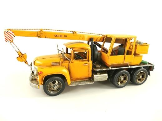 Blechauto Kranwagen Truck Oldtimer Antik Stil Gelb 47 cm Modellauto Nostalgie