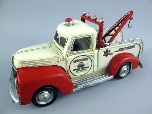 Blechauto Abschleppwagen Truck Oldtimer Antik Stil Gelb 35 cm Modellauto Nostalgie