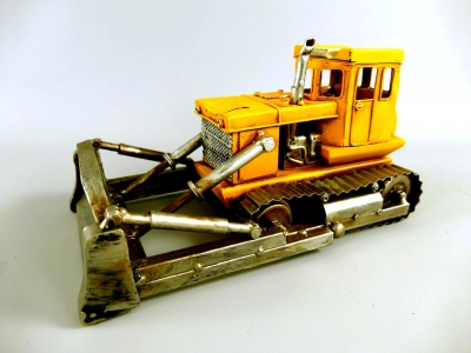 Blechauto Planierraupe Oldtimer Antik Stil Gelb 26 cm Modellauto Kettendozer Nostalgie