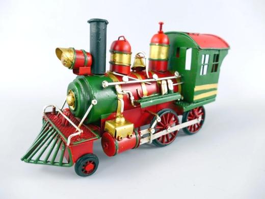 Blechauto Lokomotive Dampflok Oldtimer Antik Stil Rot/Grün 22 cm Modellauto Nostalgie