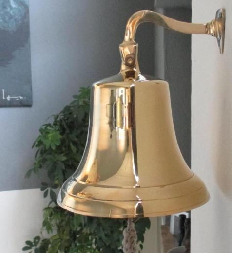 Schiffsglocke XXL Messingglocke Wandglocke Glocke Gold 18 cm Durchmesser Messing
