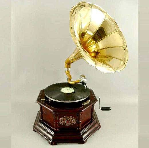 Grammophon Oktagon Brown Gramophone Gramofon mit Trichter Anitk Design Dekoration