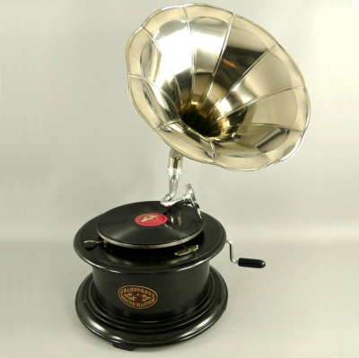Grammophon Rondo-Black Gramophone Gramofon mit Trichter Anitk Design Dekoration