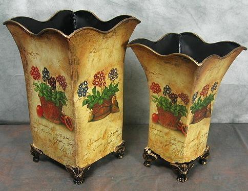 Set 2 - teilig Vase Metall Blumenvase Landhaus Trockenblumen