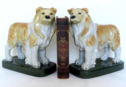 Buchstütze Porzellan Buchhalter Tierfigur Hund Colli