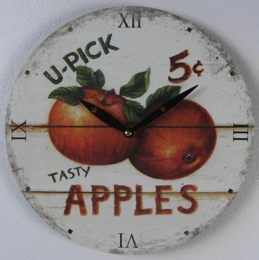 Uhr Wanduhr Holz Küchen - Uhr Früchte Apfel Vintage - Stil