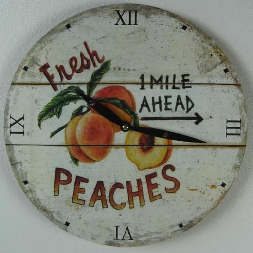 Uhr Wanduhr Holz Küchen - Uhr Früchte Pfirsich Vintage - Stil